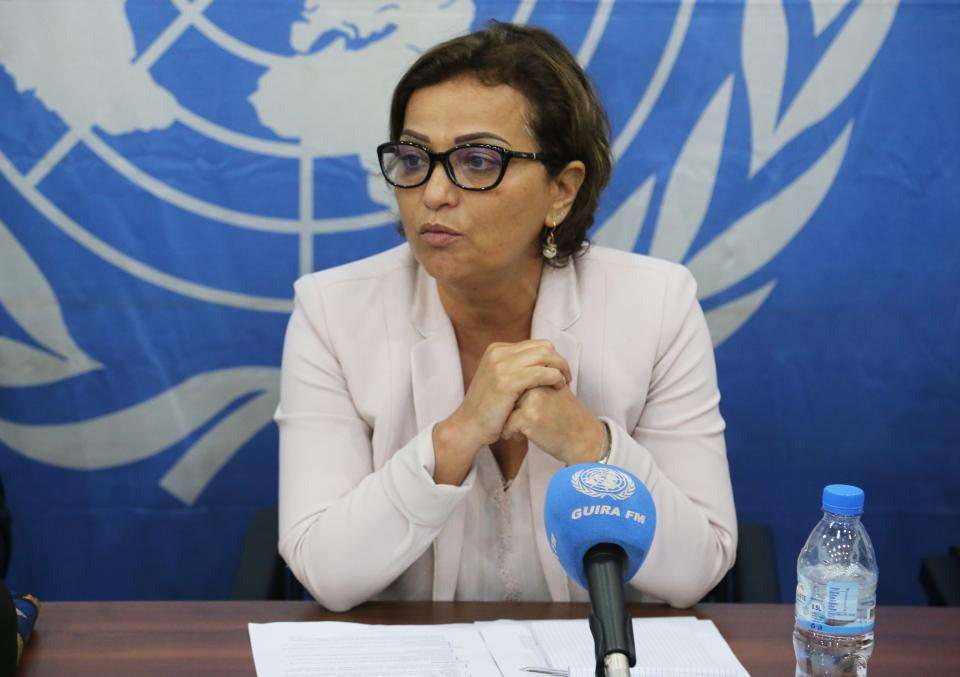 Former Deputy SRSG, Resident Coordinator and Humanitarian Coordinator, Najat Rochdi speaks to the press about humanitarian tragedy in Balangao, Central African Republic. Photo by MINUSCA/Leonel Grothe