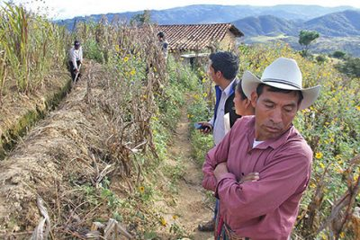 Men stand in a field of crops which have been destroyed by drought and other natural hazards. A man at the front wears a hat and has his arms crossed. There are mountains in distance.