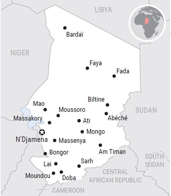 A map of Chad showing its cities and its borders with Niger, Libya, Sudan, the Central African Republic and Cameroon.
