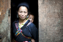 Vietnamese woman and child