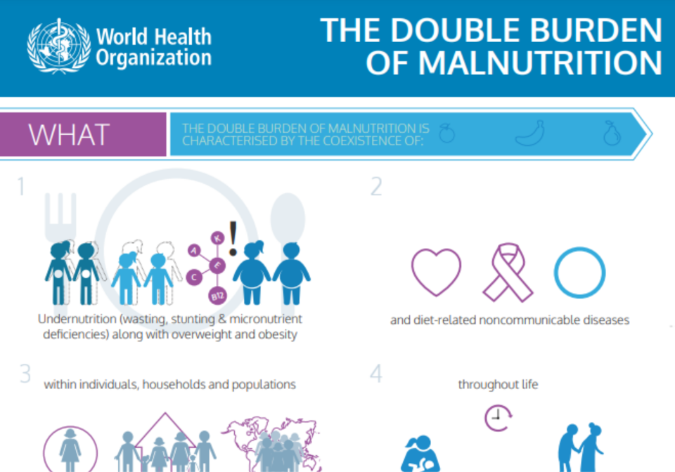 Front cover of an infographic on malnutrition.
