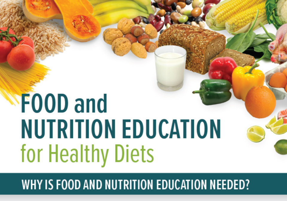 Front cover of an infographic on school food and nutrition.