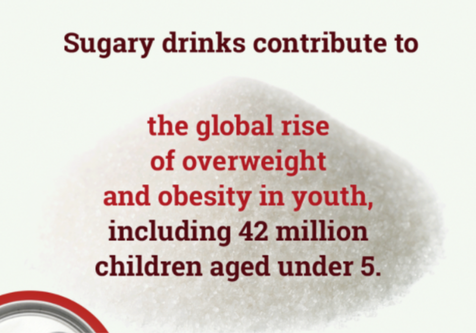 Front cover of an infographic on sugar-sweetened beverages.