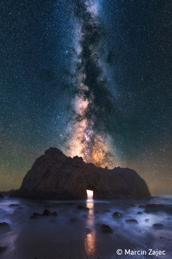 Archway in front of Milky Way. Photo: Zajec, UN World Oceans Day Photo Competition
