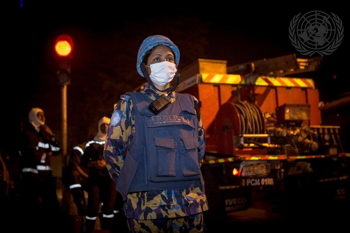 Picture of decontamination of Public Places in Bamako during COVID-19.