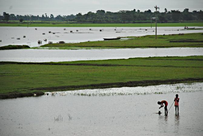 The flooding brought by the monsoon season and tropical cyclones regularly pummels the coastal lands around the Bay of Bengal in Bangladesh.
