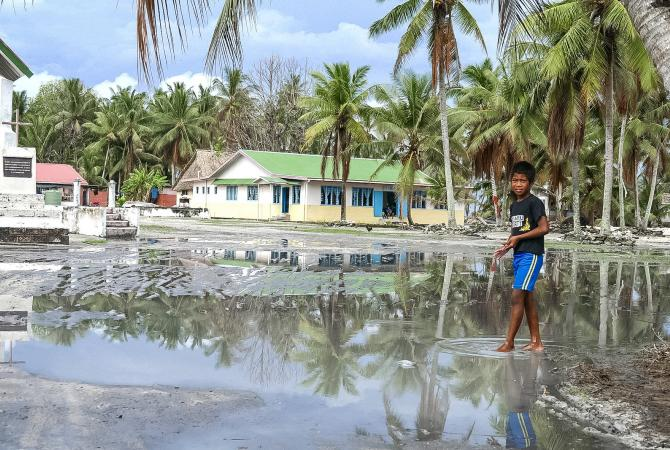 The main square of Nui Island (Tuvalu) is still under water over a month after cyclone pam