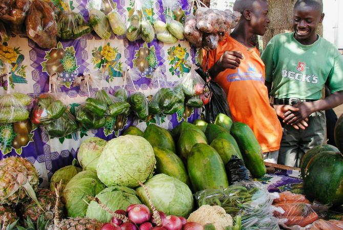 A fruit and vegetable stand in Kampala, Uganda.