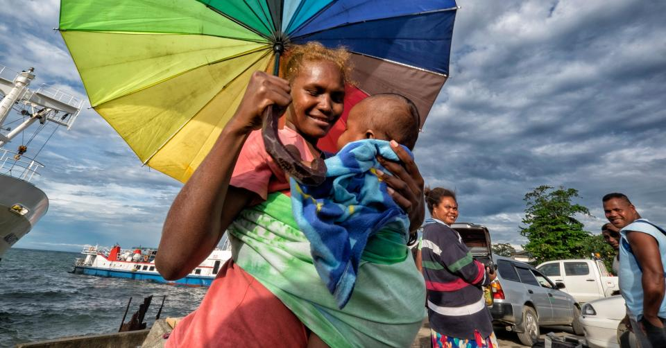 People arriving at the Port of Honiara, Solomon Islands