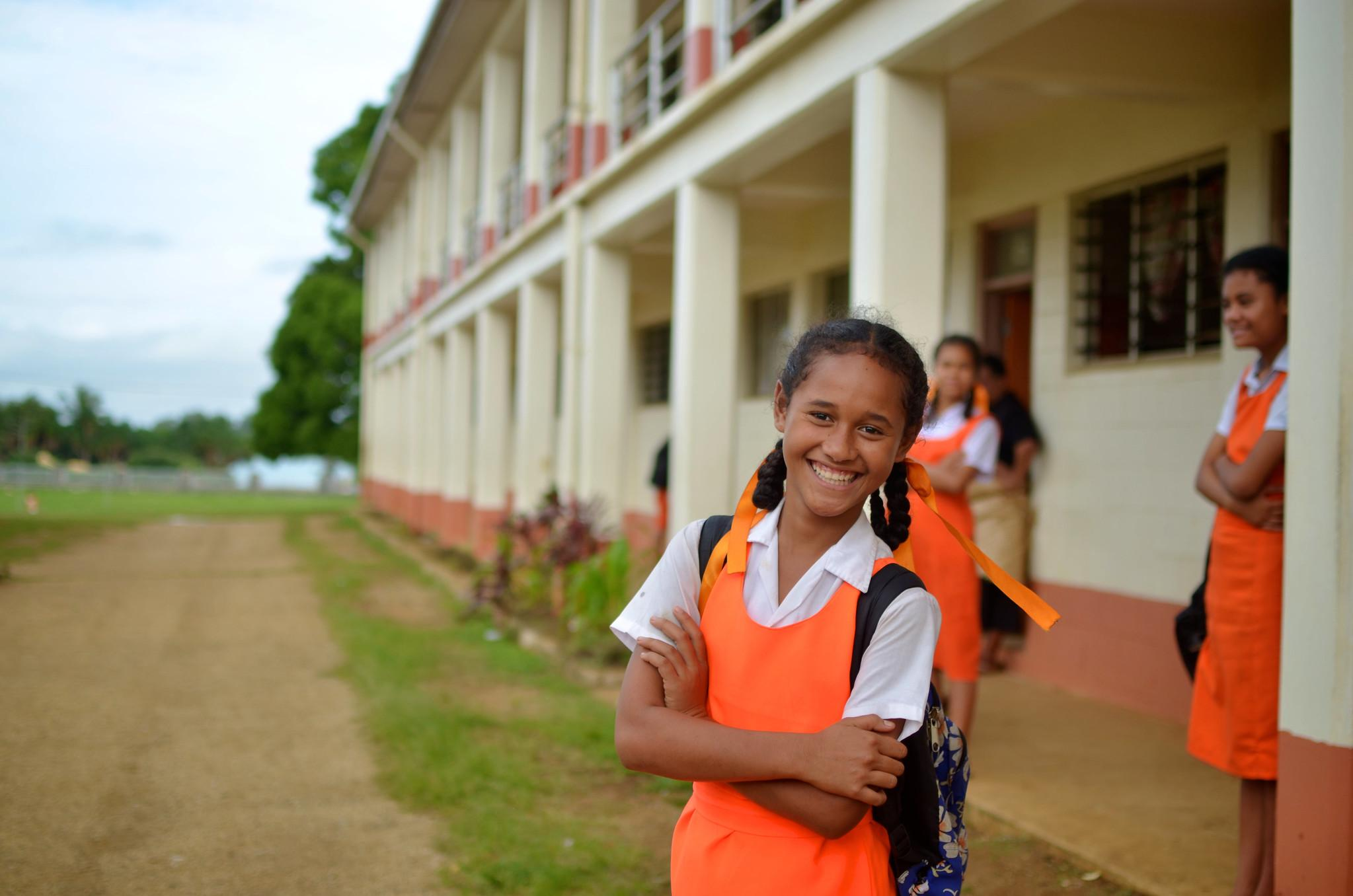 The picture of students in Tonga.