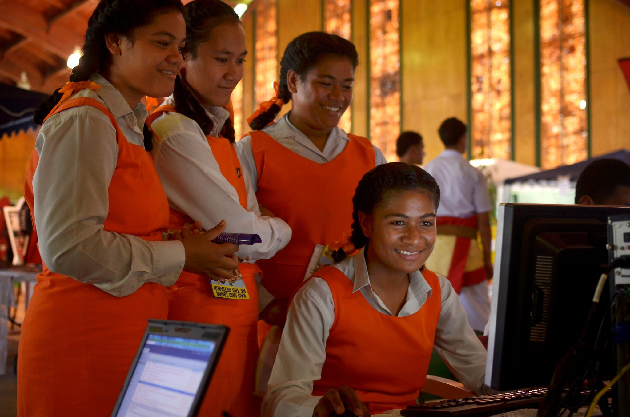Students make the most of new high-speed broadband in Tonga.
