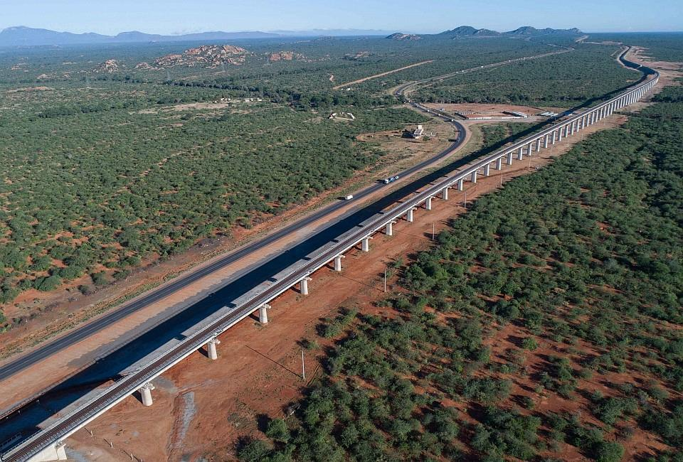 Northern Corridor road and railway with underpass for wildlife at Tsavo National Park in Kenya