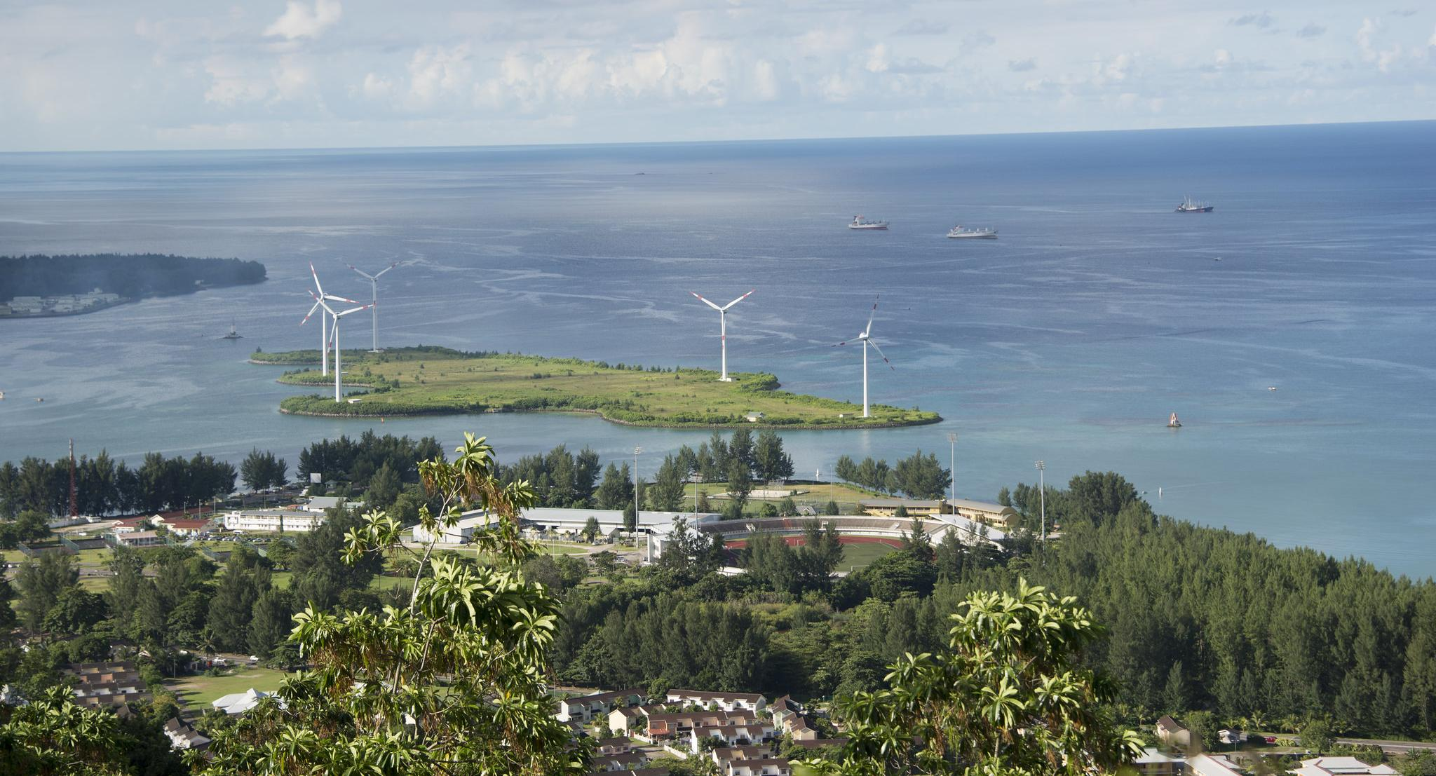Wind turbines in Seychelles.