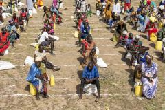 South Sudanese refugees practice social distancing