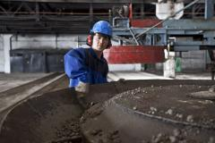 Making concrete at a production plant in Kazakhstan.