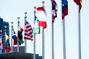 A line of nations flags.