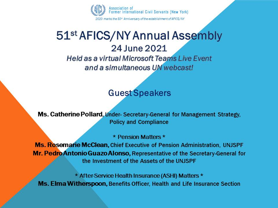 2021 AFICS/NY Annual Assembly's virtual event list of Speakers.