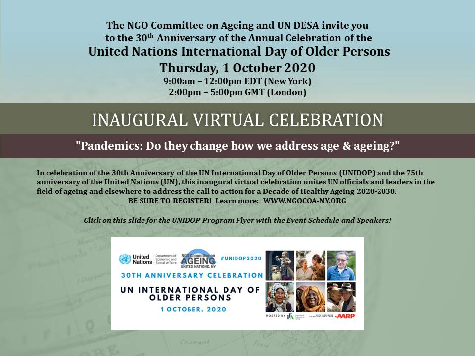 DESA and the NGO Committee for Ageing present the 2020 UN International Day of Older Persons