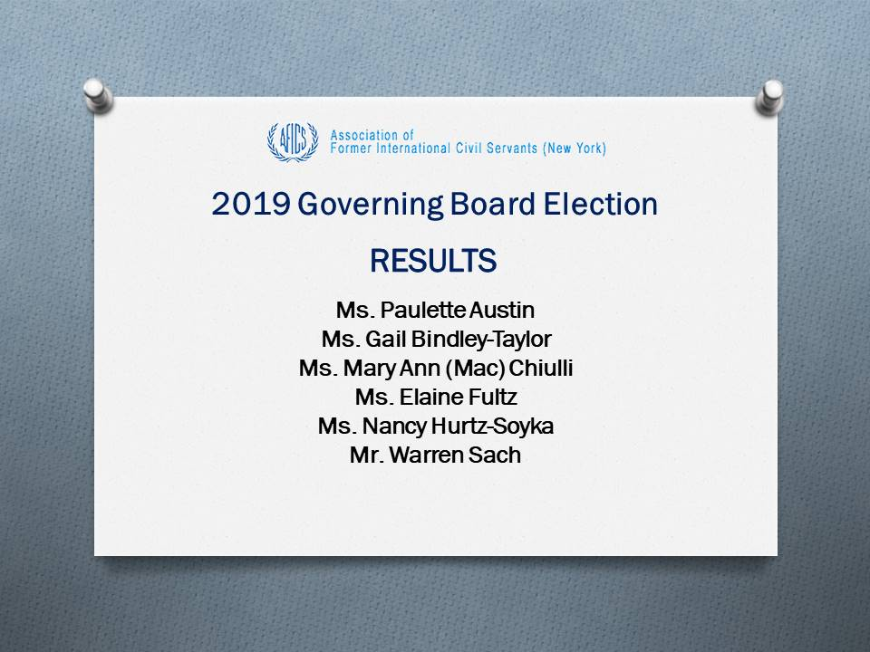 2019 Governing Board Election Results