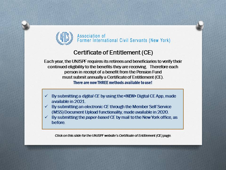 Three methods now available to submit annual Certificate of Entitlements to the Pension Fund.