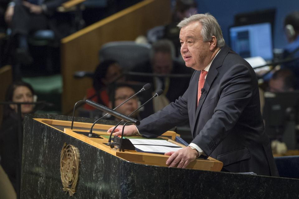 António Guterres, Secretary-General-designate of the United Nations addresses the General Assembly. UN Photo/Eskinder Debebe