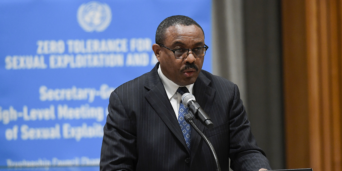 Hailemariam Dessalegn, Prime Minister of the Federal Democratic Republic of Ethiopia, delivers his remarks at the high-level meeting on the prevention of sexual exploitation and abuse.