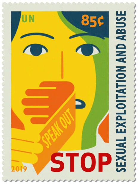 stamp issued to raise awareness worldwide regarding the problem of sexual exploitation and abuse