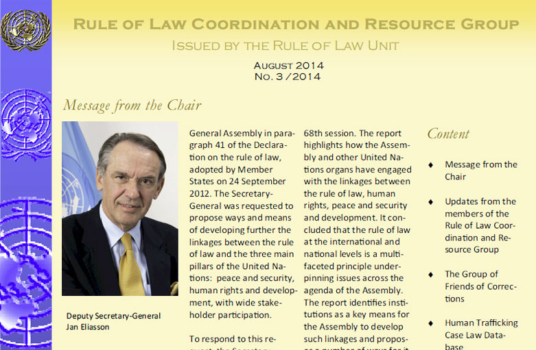 Rule of Law Coordination and Resource Group Newsletter – August 2014