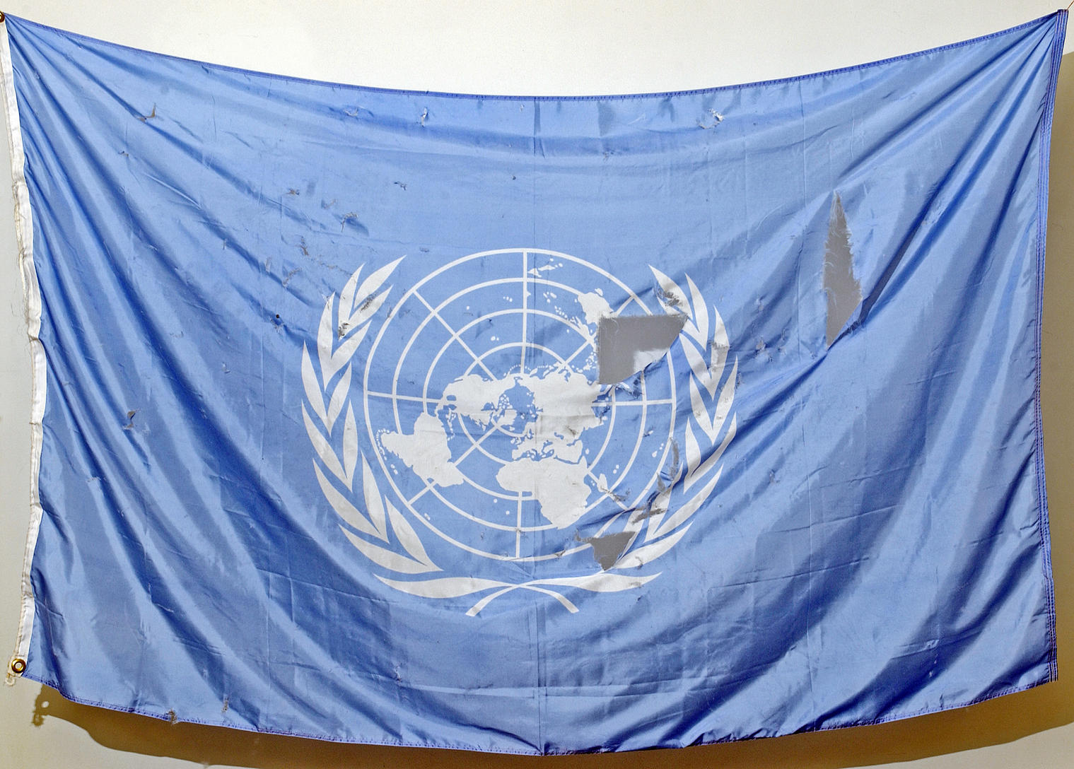UN Flag Recovered From Debris of Bombed Baghdad UN Office