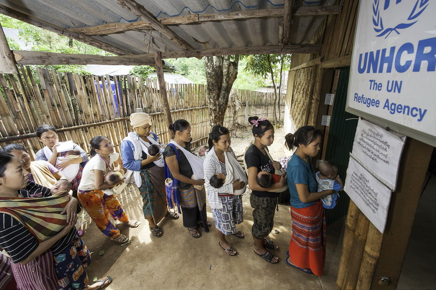 Myanmar refugee babies wait for birth registration in Thailand's Mae La camp. Under Thailand's amended Civil Registration Act, some 5,000 newborn refugees in Thailand's nine border refugee camps have received birth certificates, an important step to prevent statelessness.