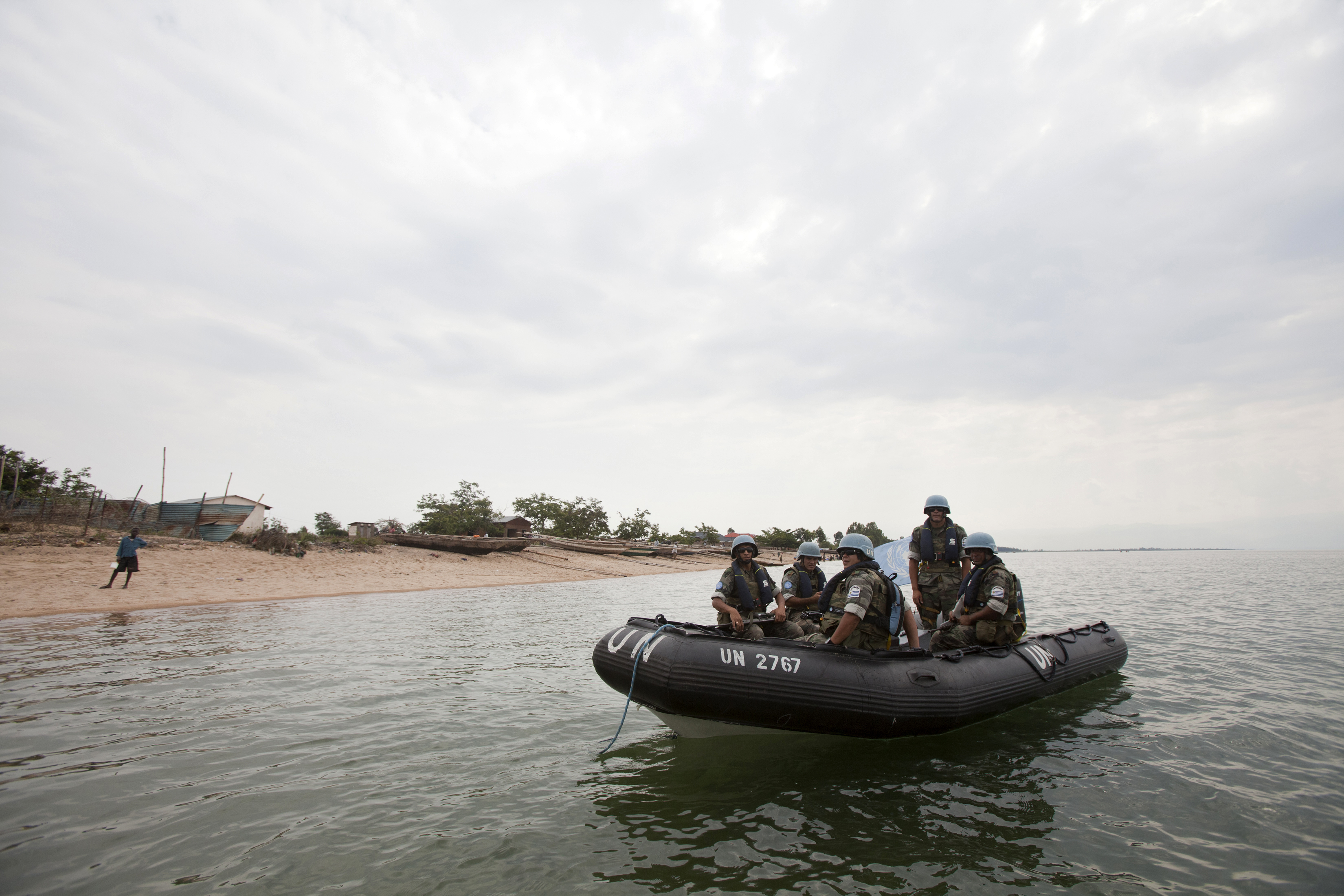A contingent of Uruguayan peacekeepers with the UN Organization Stabilization Mission in the Democratic Republic of the Congo (MONUSCO) lands on a beach near Uvira, South Kivu province. The troops conduct an operation Tanganyika Lake to protect commercial navigation against piracy and armed groups, who carry out attacks and extort illegal taxes.