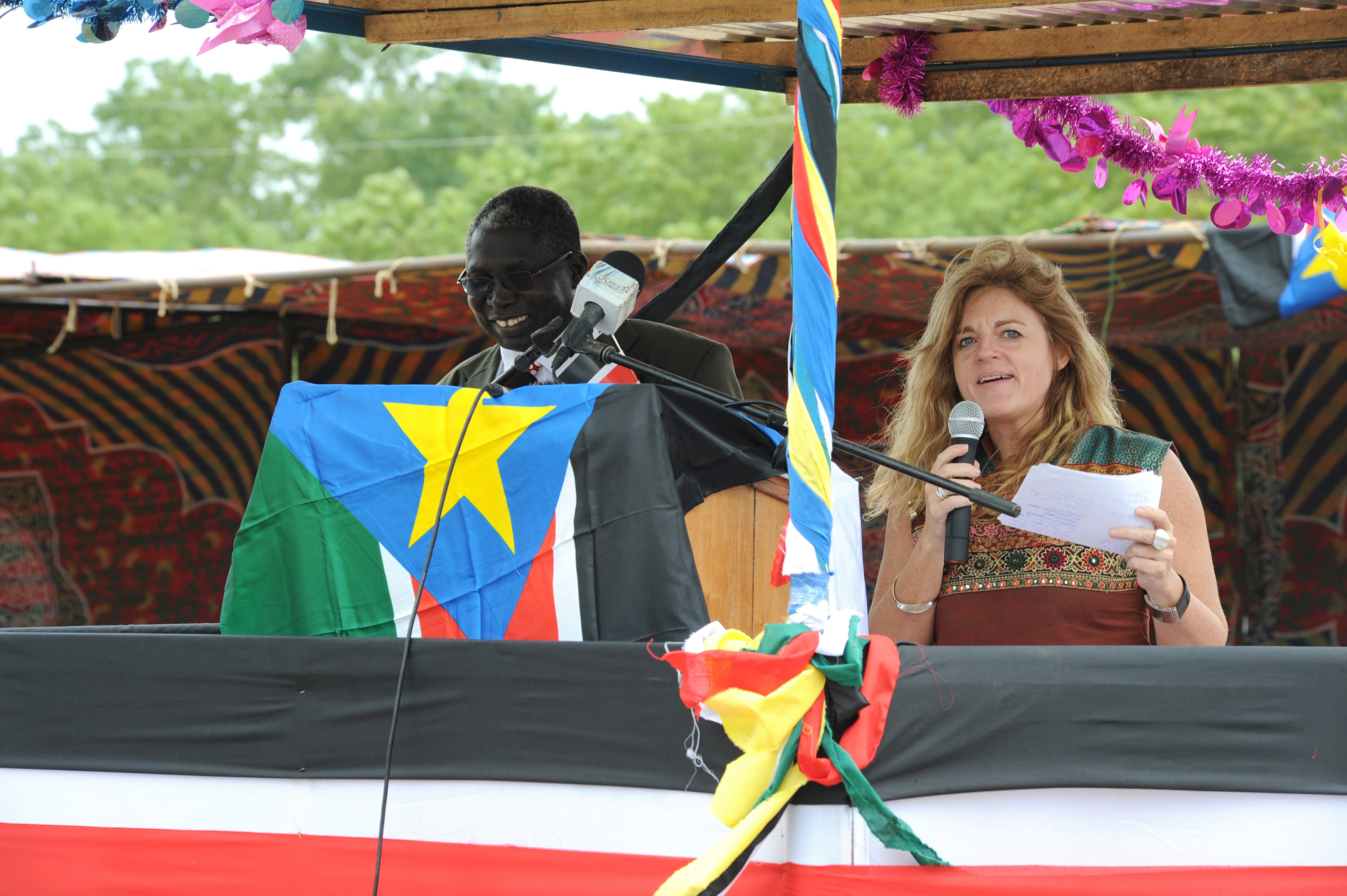 Hilde Johnson (right), Special Representative of the Secretary-General for South Sudan, speaks at a signing ceremony of the Jonglei State Communities' conference for peace, reconciliation and tolerance. With the signing, six community representatives of greater Jonglei agreed to end all inter-tribal conflicts.