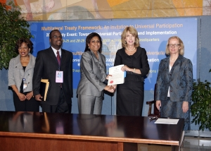 Treaty signing with the Minister of Foreign Affairs (The Honourable Paula Gopee Scoon) Trinidad and Tobago