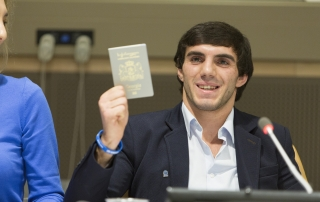 Zhirair Chichian, stateless youth living in Georgia, speaks at UNHCR High Level Panel on the importance of nationality, held at UN Headquarters in New York on November 3, 2015.