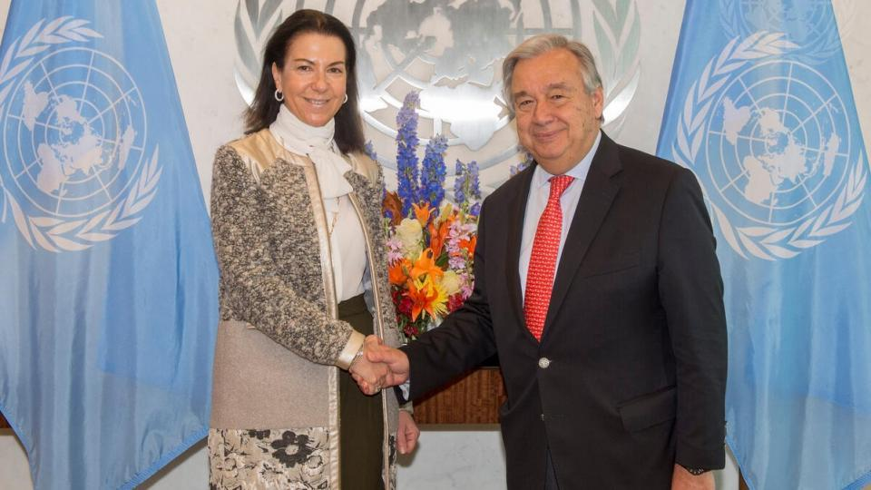 Secretary-General António Guterres (right) meets with Michèle Coninsx
