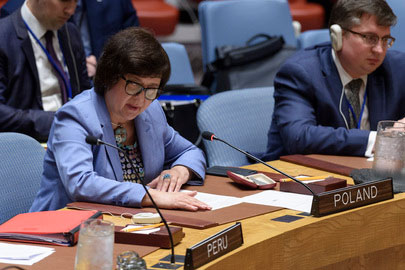 Joanna Wronecka, briefs the Security Council on the situation in the Sudan and South Sudan.