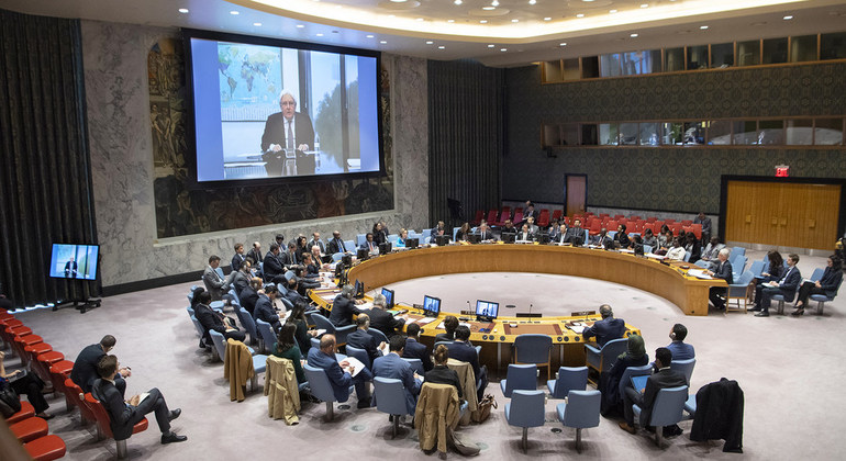 Martin Griffiths (on screen), Special Envoy of the Secretary-General for Yemen, briefs the Security Council on the situation Yemen UN Photo/Eskinder Debebe