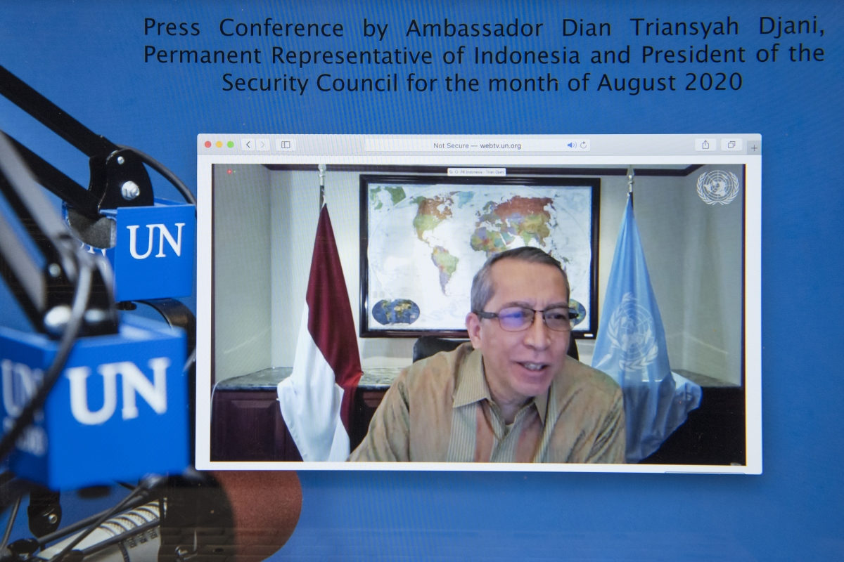 Dian Triansyah Djani, Permanent Representative of Indonesia to the United Nations and PSC (August), briefs reporters virtually on the Council's programme of work for August. UN Photo/Eskinder Debebe