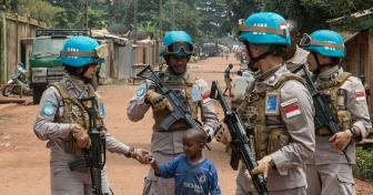 UN Police Serving with MINUSCA Patrol Bangui.