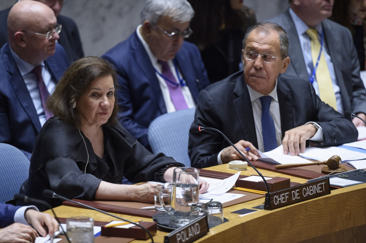 Ms. Ribeiro Viotti, Chef de Cabinet to SG, briefs SC on peace and security in Africa, with a focus on partnership to strengthen regional peace and security. At right is Sergey V. Lavrov, Minister for Foreign Affairs of the Russia UN Photo/Loey Felipe