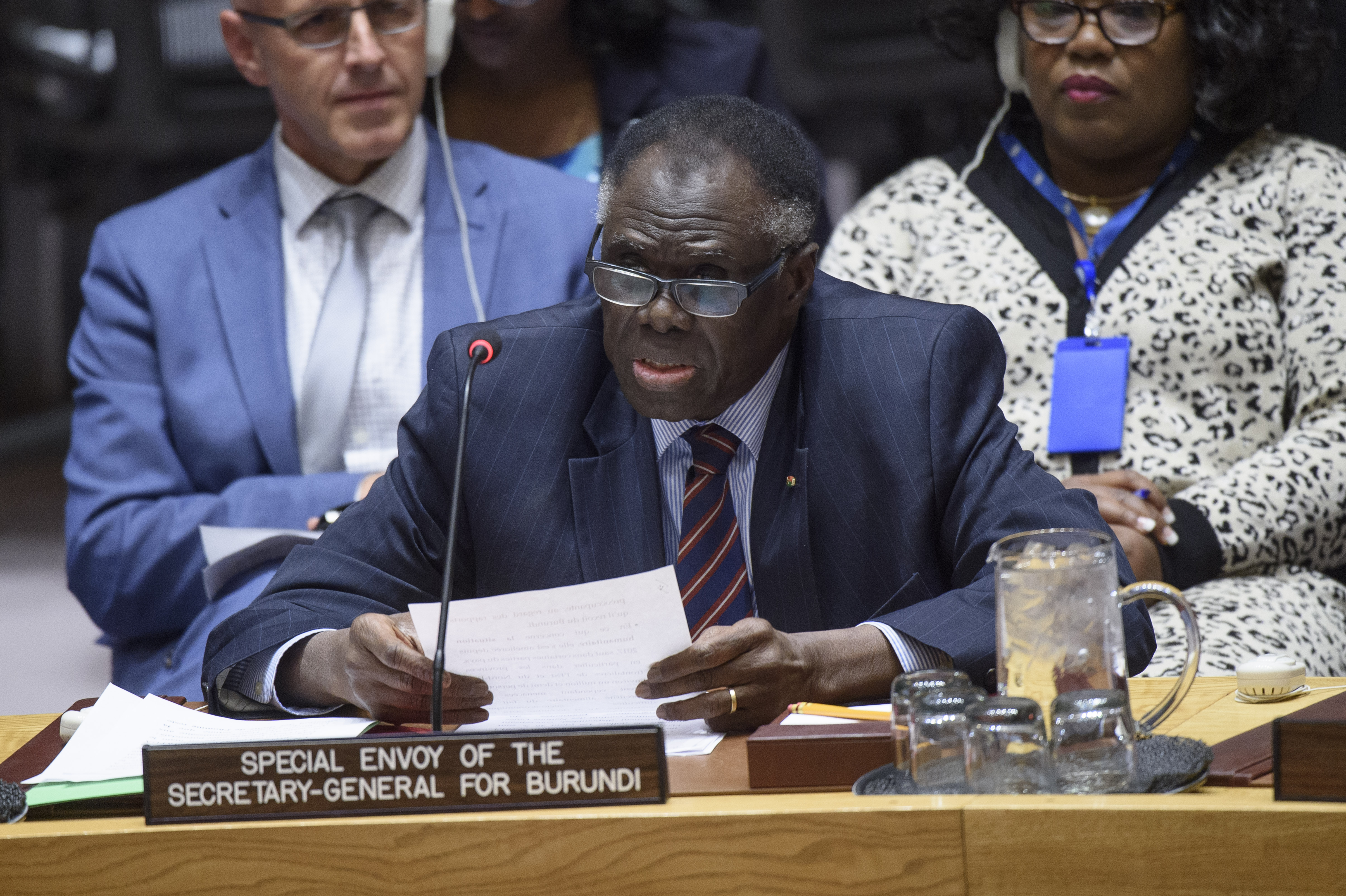 Michel Kafando, Special Envoy of the Secretary‑General for Burundi, briefs the Security Council on the situation in Burundi.