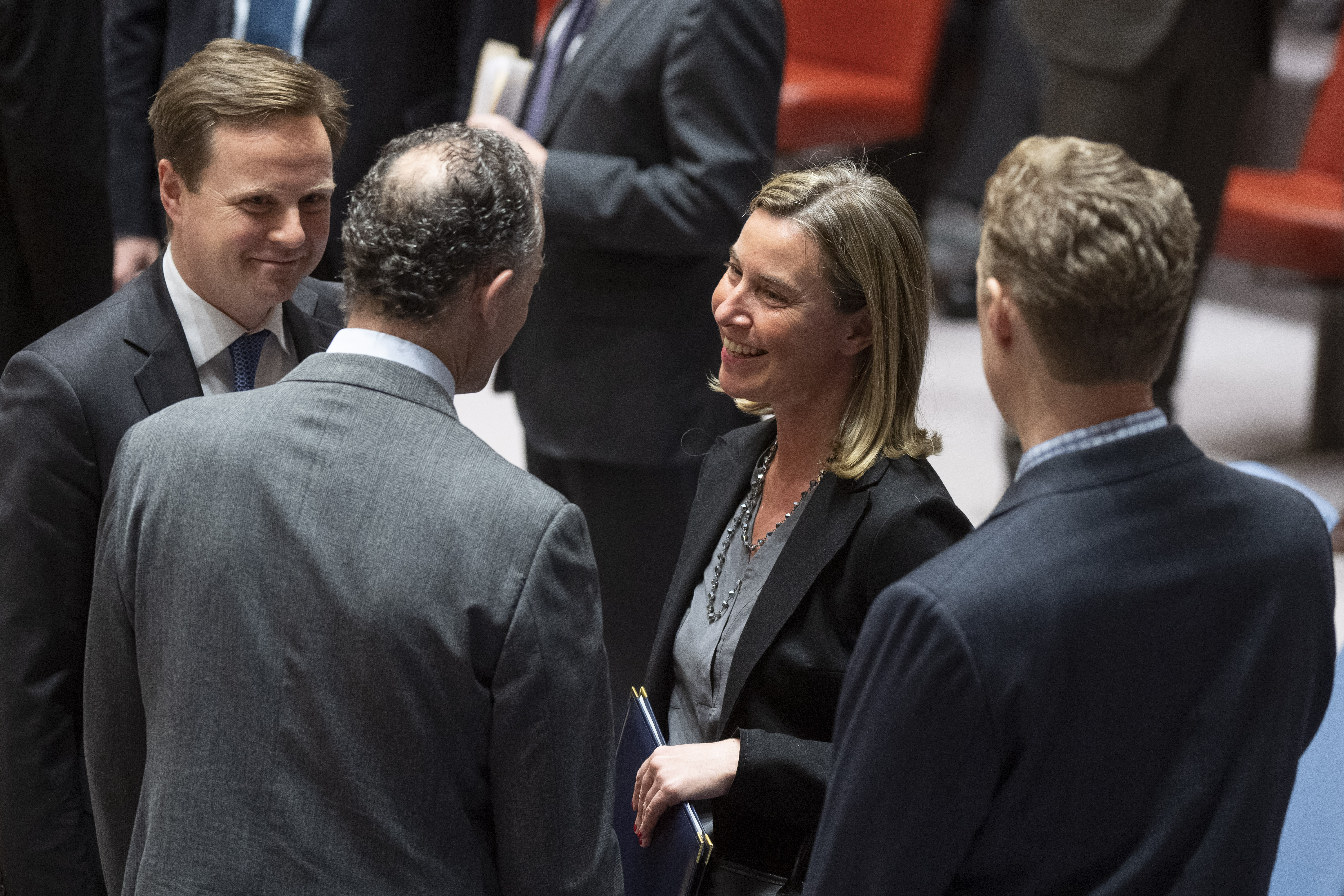Federica Mogherini (centre right), High Representative of the European Union for Foreign Affairs and Security Policy, speaks with Jonathan R. Cohen (centre left), Acting Permanent Representative of the United States to the UN.