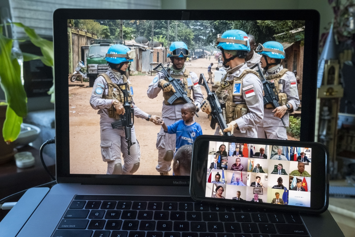 Security Council members hold an open videoconference in connection with the UN Multidimensional Integrated Stabilization Mission in the Central African Republic (MINUSCA). UN Photo/Loey Felipe