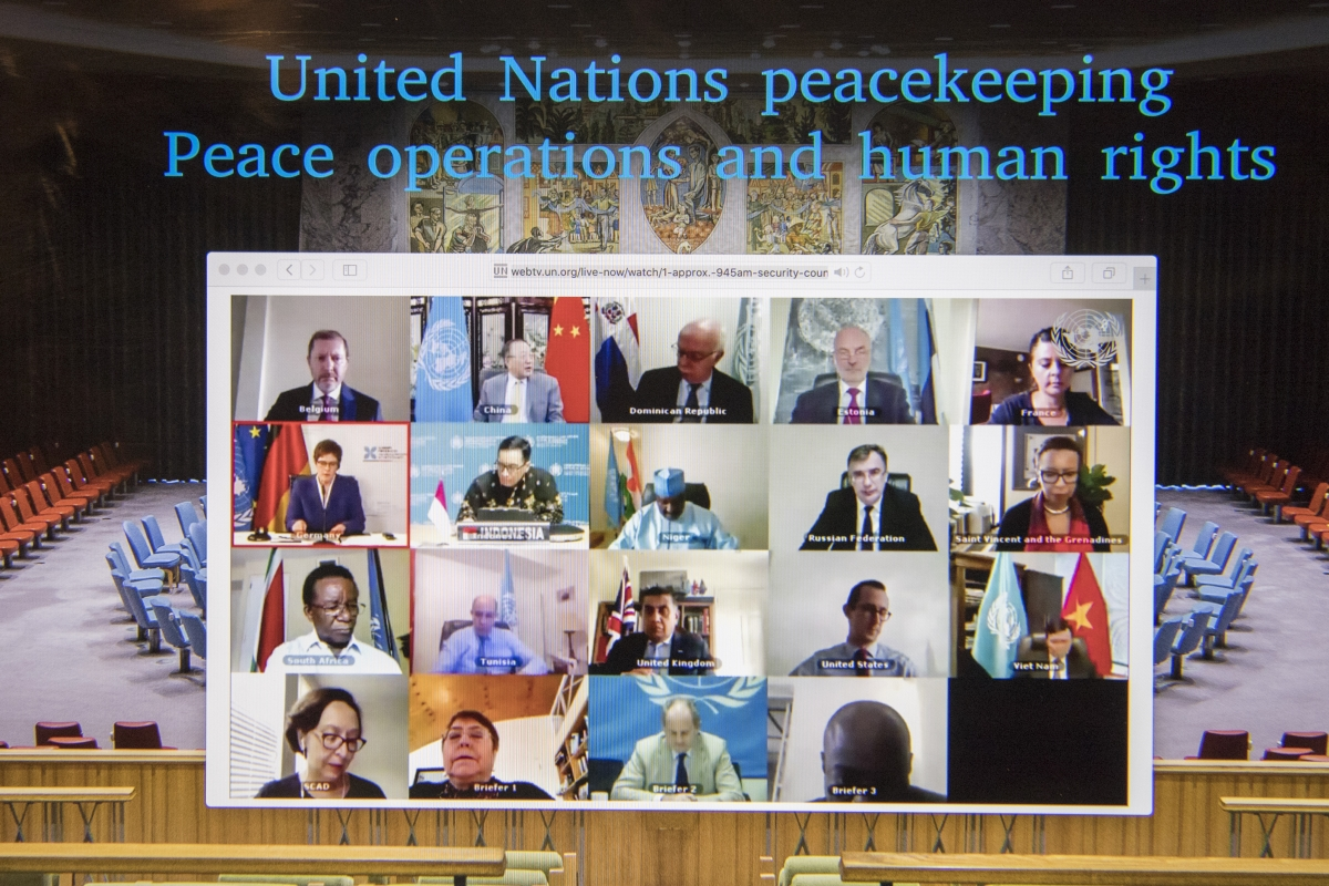 "Security Council members hold an open videoconference in connection with ""United Nations peacekeeping operations: Peace operations and human rights"". UN Photo/Eskinder Debebe"