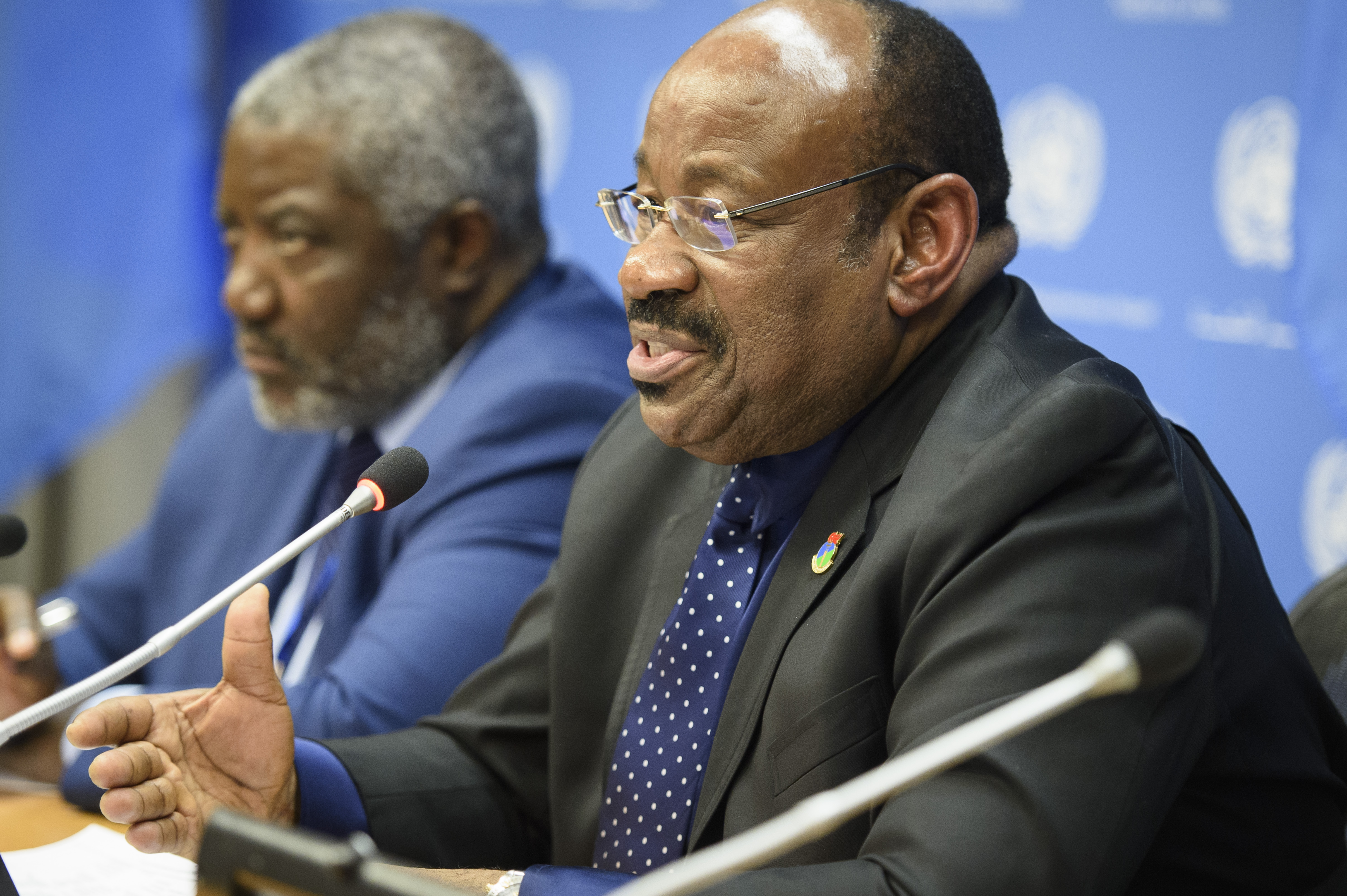 Anatolio Ndong Mba, Permanent Representative of Equatorial Guinea to the United Nations and President of the Security Council for the month of February, briefs press on the Council's programme of work for the month.