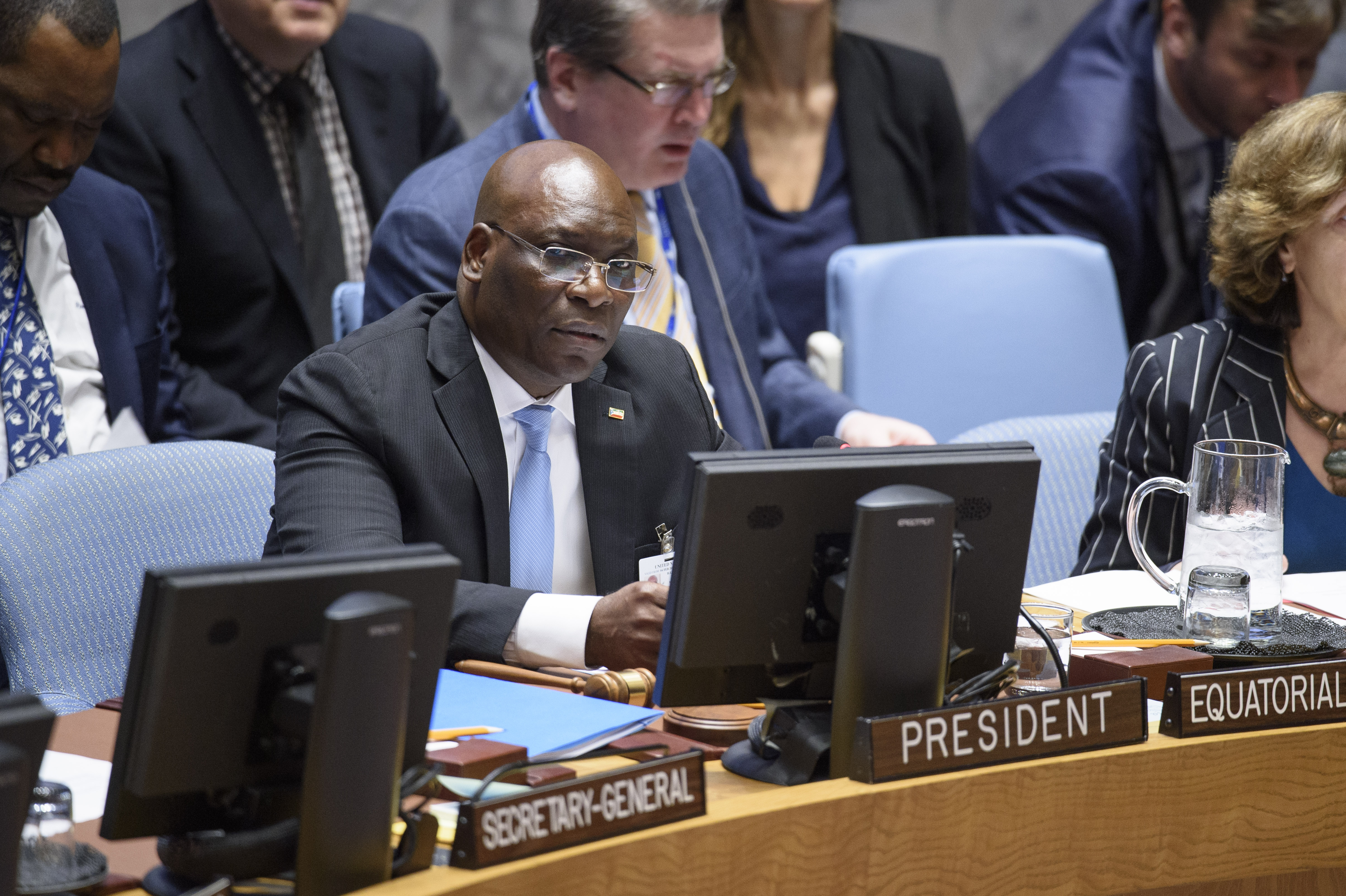 Simeon Oyono Esono Angue, Minister for Foreign Affairs and Cooperation of Equatorial Guinea and President of the Security Council for the month of February, chairs the Security Council meeting on the maintenance of international peace and security.