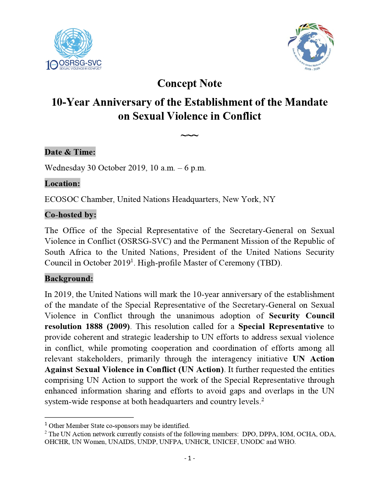 Concept Note 10-Year Anniversary of the Establishment of the Mandate on Sexual Violence in Conflict