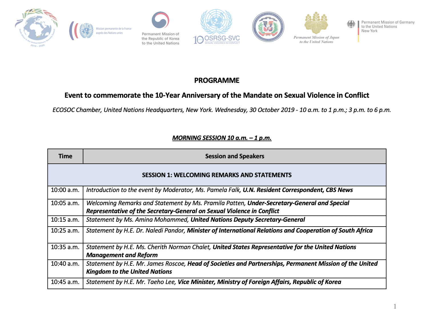 Programme of the Event to commemorate the 10-Year Anniversary of the Mandate on Sexual Violence in Conflict