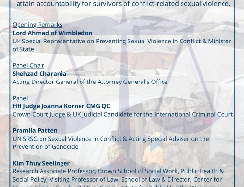 "EVENT: ""CRSV – Achievements and challenges in bringing perpetrators to justice"",  30 October 2020. Register here: https://bit.ly/2HEfKZq"