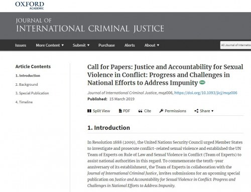 Call for Papers: Justice and Accountability for Sexual Violence in Conflict.